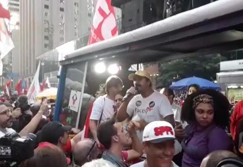 Facesp discursa no Ato de Greve Geral na Av. Paulista